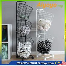3 Tier Metal Wire Laundry Baskets Clothes Storage Rack Wheel Bakul Baju Bakul