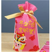 Chinese New Year Blessings Pink type Candy Gift Packaging Bag Cookie Plastic w