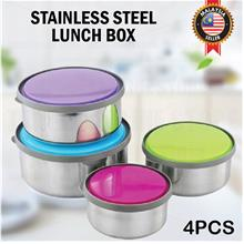 4PCS Stainless Steel Lunch Box Bowl Food Storage Container
