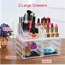 BIGSPOON 2 Large Drawers Clear Acrylic Cosmetic Rack Organizer