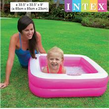 INTEX Inflatable Play Box Baby Pool Square 85x85x23cm 57100 (Pink)