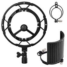 Moukey Microphone Shock Mount with Three-Layer Metal Pop Filter, Anti-Vibratio