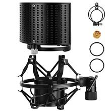 Moukey Microphone Shock Mount with Metal Pop Filter, Universal Mic Shock Mount