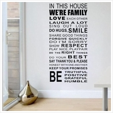 Family House Rules Quote Black Wall Decal Sticker Wall Lettering Wall