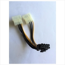 2x 4 Pin IDE Molex to 8 pin PCIE PCI Express Cable PCI-E