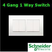 Schneider Vivace Series 4 Gang 1 Way Switch lighting fan Electrical AC