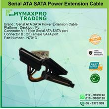 Serial ATA SATA 15pin Power Extension Cable 1x Male to 2x Female Cable