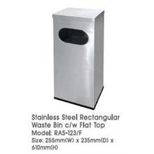 Stainless Steel Rectangular Waste Bin Flat Top 255WX235DX610H RAS123F