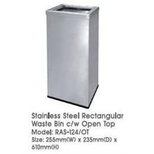 Stainless Steel Rectangular Waste Bin Open Top 255WX235DX610H RAS124OT