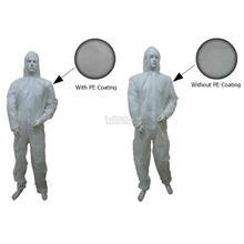 Disposable Non Woven Coverall White Hood Wth PE Coating Wo PE Coating