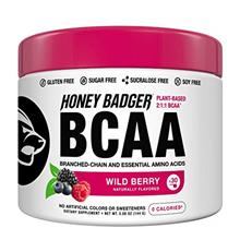 Honey Badger Vegan Keto BCAA + EAA Electrolyte Powder | Wild Berry | Natural G