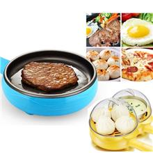 2 in 1 Mini Electric Frying Pan and Egg Cooker Boiler Steamer