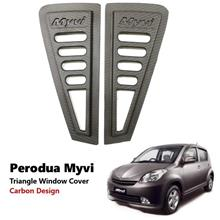 Perodua Myvi Rear Side 3D Carbon Window Triangle Mirror Cover Protector