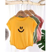 Baby Girls Boys Pure Color Short Sleeve Smiley Romper Bodysuit Jumpsui..