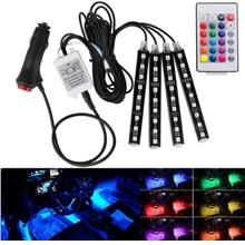 Wireless Remote Control Car RGB LED Neon Interior Light Lamp Strip Decorative
