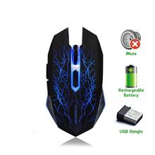 Morzzor Rechargeable Wireless Mouse Mute Gaming Mouse 6 Button LED