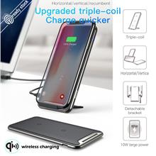 Baseus 10W 3 Coils QI Wireless Fast Charger For iPhone X 8 Samsung S9 S8 Plus