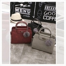 Women Elegant Marble Stone Fluffy Handbag Top Handle Sling Bag