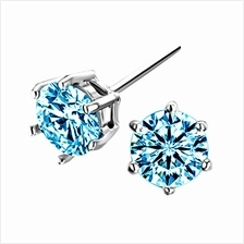 Youniq Hexa Cz Blue 925 Sterling Silver Earrings
