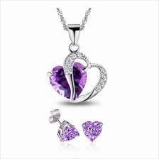 Youniq Lavender Love 925s Silver Necklace Pendant With Blue Cz & Earrings