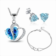 Youniq Aegean Sea 925s Silver Necklace Pendant Blue Cz Earrings & Bracele