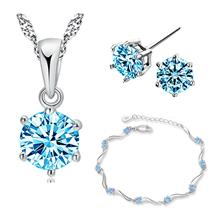 Youniq Hexa 925s Silver Necklace Pendant With Blue Cz, Earrings And Bracelet S