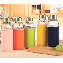 Fashion Glass Water Bottle 420ML With Non Slip Cover (Random Color)