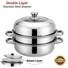 28cm 2 Layers Hot Pot Steamed Soup Stainless Steel Cookware Steam Pot