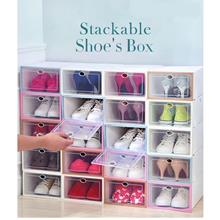 12 Units Stackable Shoe Box Multipurpose Storage Box Foldable Shoes Rack Attac