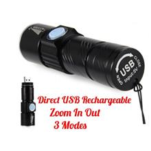 Tactical Rechargeable Mini Flash Light Torch Zoom Powerful USB LED Flashlight