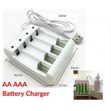 Usb Power Battery Charger Intelligent 4 Slots AA AAA Lithium Rechargeable Fast