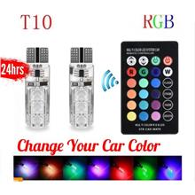 2pcs T10 5050 REMOTE CONTROL CAR LED BULB 6 SMD MULTICOLOR RGB 501 SIDE LIGHT