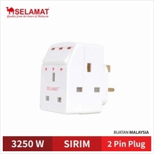 3 Pin Extension SELAMAT 3 Way Multi Adaptor with LED Neon Switch (SIRIM Certif