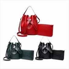 Korean Style 2 In 1 PU Leather Bucket Sling Bag Set