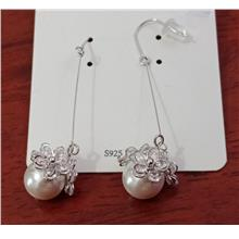 Blinking flowers on silver ball earrings