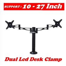 DUAL 2 LCD Monitor Desk Clamp Mount Bracket (2 LCD UP TO 10~27')