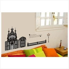 Wall sticker antique building fence lamp post black&white series