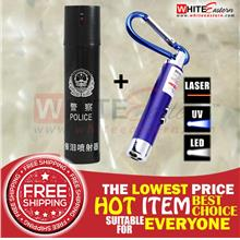 (FREE SHIP) Pepper Spray + 3-in-1 LED Keychain Flashlight Package 12
