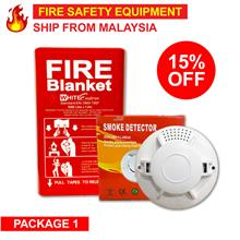 Package - Fire Extinguisher Fire Blanket Smoke Detector Alarm