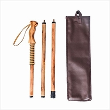 Forest Pilot 3 Piece Walking Stick Wooden Handle with a Compass (Nature Color,