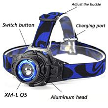 Q5 1000 Lumens USB Chargeable Camping LED Headlamp Strong Light Super