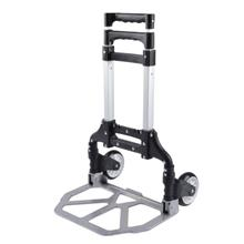Shopping Cart Aluminum Alloy Luggage Foldable Hand Trolley H - [BLACK]