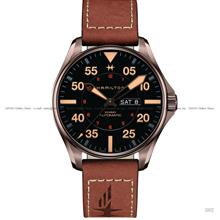HAMILTON H64705531 Khaki Aviation Pilot Day Date Auto 46mm Leather