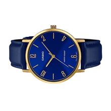 CASIO Men Analog Gold Case Blue Leather Strap Watch MTP-VT01GL-2B2UDF