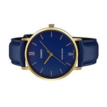 CASIO Men Analog Gold Case Blue Leather Strap Watch MTP-VT01GL-2BUDF