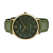 CASIO Men Analog Gold Case Green Leather Strap Watch MTP-VT01GL-3BUDF