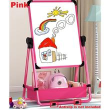 Kids Drawing Board Whiteboard & Blackboard Double Sided Stand - [PINK]
