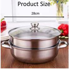Luxury Steam Pot Steamer Cookware Pot 2 Layer Stainless Steel / Periuk