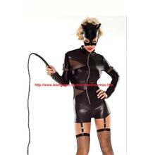 Black PU Leather Cat Lingerie Halloween Costume Mask, Garter YH1528