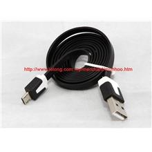 MICRO USB FLAT CABLE BLACK Compatible for Samsung HTC others